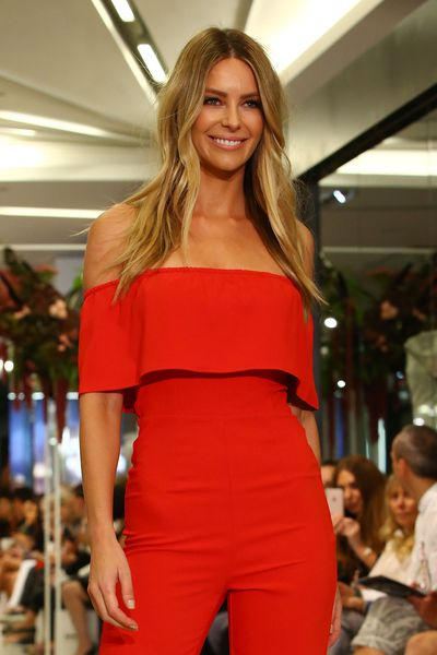 Jennifer Hawkins showcases designs during the Myer Fashion Runway show on March 17, 2017 in Melbourne.