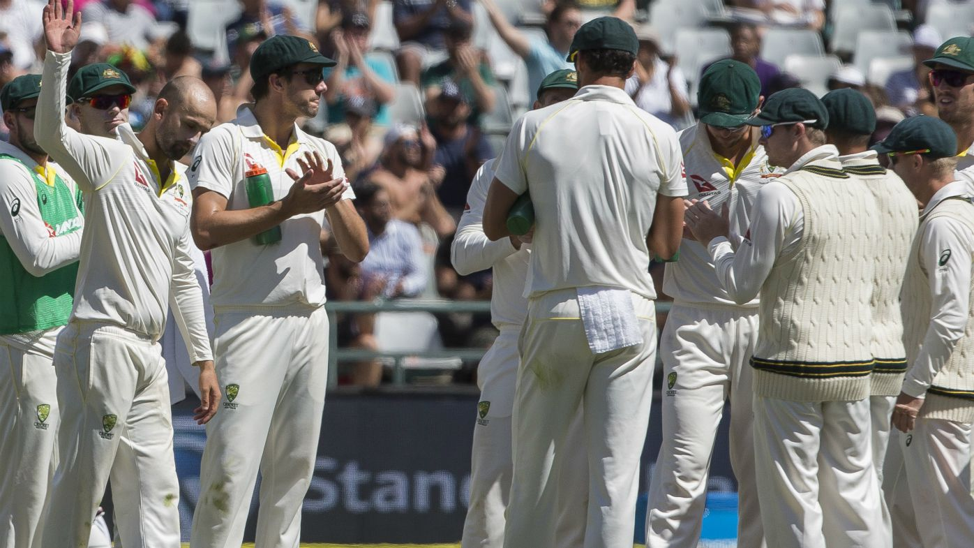 Nathan Lyon salutes the crowd