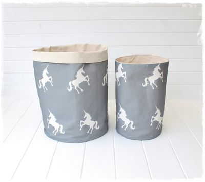 "<a href=""https://www.etsy.com/au/listing/223705413/unicorns-grey-fabric-storage-baskets?ga_order=most_relevant&amp;ga_search_type=handmade&amp;ga_view_type=gallery&amp;ga_search_query=unicorn&amp;ref=sr_gallery_2"" target=""_blank"" draggable=""false"">Willow and The Owl Unicorns Fabric Storage Baskets, from $19, etsy.com</a>"