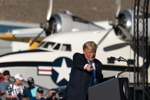 President Donald Trump speaks at a campaign rally at Carson City Airport