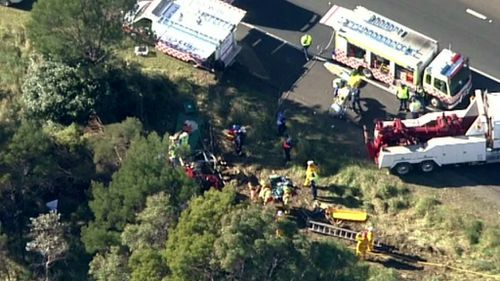 The crash occurred on the Hume Highway at Sutton Forest around 8:25am. (9NEWS)