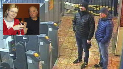 Alexander Petrov and Ruslan Boshirov shown on UK CCTV have been accused by British authorities of trying to poison Sergei and Yulia Skripal, inset.