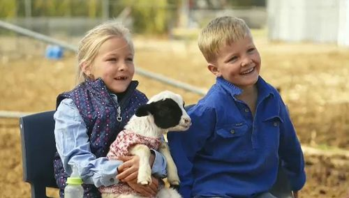 Eliza Larkin and her brother Ryder spoke to the Today Show about life in the drought. Picture: 9NEWS