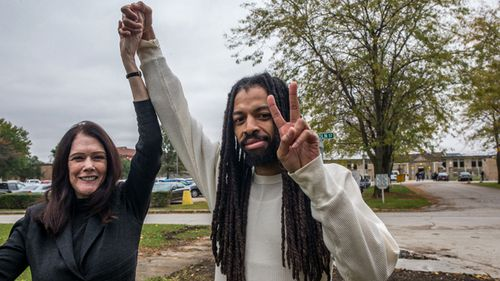 Wrongfully convicted Bernard Mims walks free and celebrates with attorney Kathleen T. Zellner after his release from Pontiac Correctional Center in 2016.
