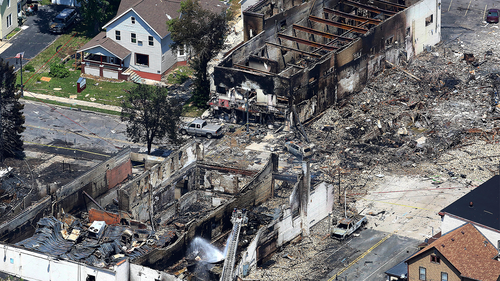 Horrifying footage of deadly gas explosion in Wisconsin.