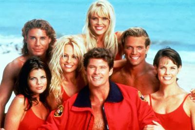 Once the most-watched TV show in the world, <i>Baywatch</i > bowed out in 2001 after a 12-year run on air. <br/><br/>Back row: Jaason Simmons (Logan), Gena Lee Nolin (Neely). Front row: Yasmine Bleeth (Caroline), Pamela Anderson (CJ), David Hasselhoff (Mitch), David Charvet (Matt) and Alexandra Paul (Stephanie).