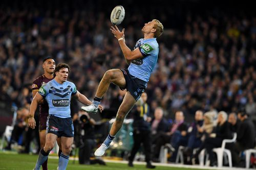 The Blues' 'young gun' players flew to the win under the watchful eye of new coach Brad 'Freddy' Fittler. Picture: AAP.
