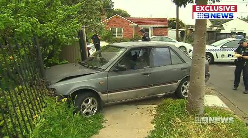 The Holden Commodore crashed into a fence on Bray Street after the police pursuit.