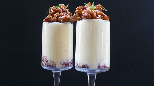 Rose scented white chocolate mousse with candied walnuts