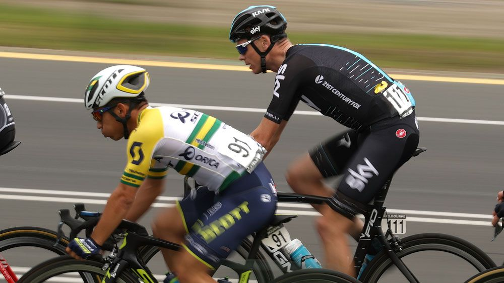 Caleb Ewan and Chris Froome together during Race Melbourne. (Getty Images)