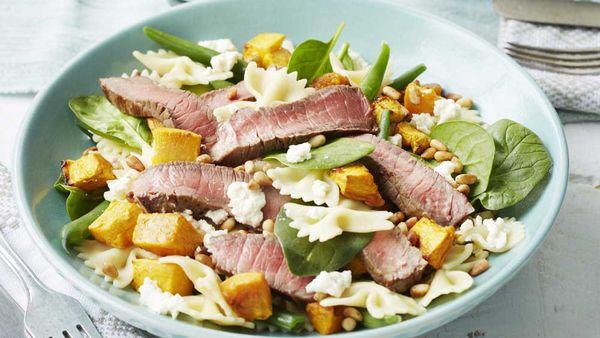 Warm beef and pasta salad