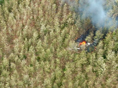 Smoke is seen rising from the site of a plane crash. (AAP)