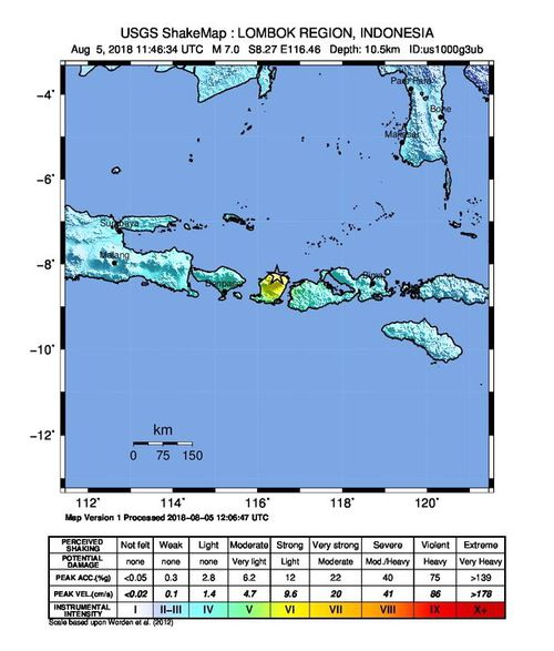 An intensity map of the 7.0-magnitude earthquake on the Lombok island. Picture: USGS