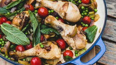 "Recipe:&nbsp;<a href=""http://kitchen.nine.com.au/2016/12/02/12/19/anthia-koullouros-chicken-with-celery-mint-pea-and-cherry-tomato"" target=""_top"" draggable=""false"">Anthia Koullouros' chicken with celery, mint, pea and cherry tomato</a>"