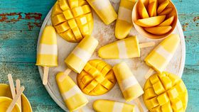 Mango frozen yogurt pops