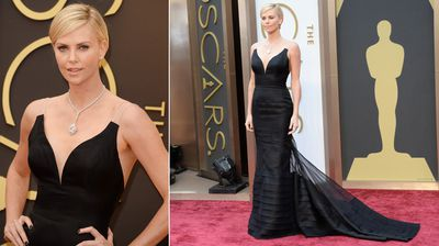 Best actress Oscar winner Charlize Theron oozes elegance in a simple, black gown.