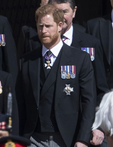 Prince Harry wears medals at Prince Philip's funeral