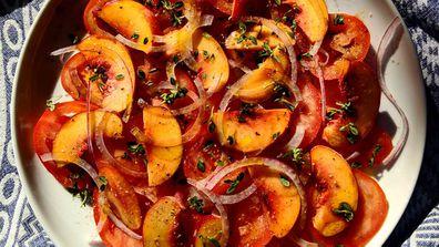 Tomato peach summer salad