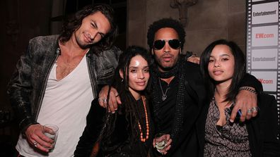 Jason Momoa, Lisa Bonet, Lenny Kravitz and Zoe Kravitz at an Entertainment Weekly party in 2010.