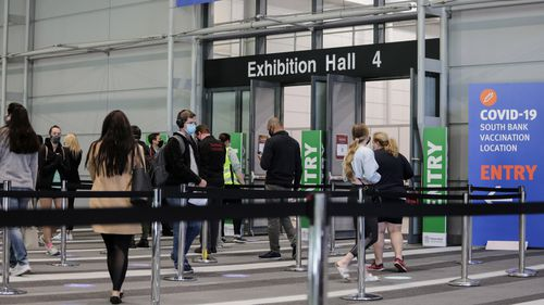 Brisbane Convention and Exhibition Centre is one of Queensland's mass vaccination hubs.