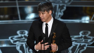 <b>Best Editing:</b><br><br>Tom Cross accepts his Oscar for his work on 'Whiplash'. (AAP)