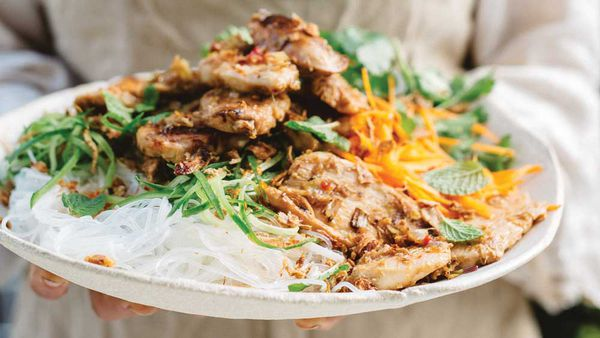 Lemongrass chicken bun bowl, from The Yogic Kitchen