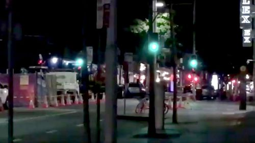 NSW MP Catherine Cusack was inside the exclusion zone last night when workmen ruptured a gas line. Picture: Twitter.
