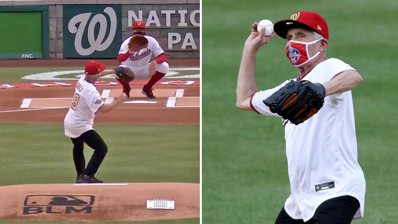 Dr Anthony Fauci throws wild first pitch on MLB Opening Day at Nationals v Yankees game