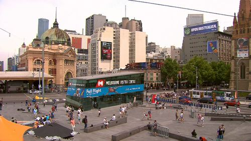 Federation Square is a popular meeting place for tourists and locals alike. Picture: 9NEWS