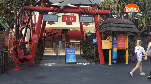 9NEWS cameras captured very few people entering the gates of the Gold Coast theme park. Picture: 9NEWS