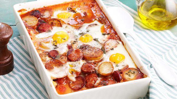 Spanish baked eggs for $8.40