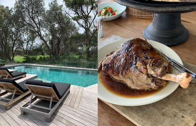 Bangalay Luxury Villas, Shoalhaven Heads: resort pool for guests and lamb leg from the restaurant