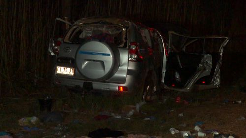 Three people were killed in this crash in Kakadu National Park on Easter Saturday. Four people were also killed in both NSW and Queensland over the weekend and Victoria and WA also recorded one death each. Picture: 9NEWS.