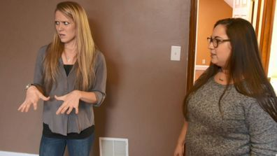 Caroline and Kayla have some concerns over the closet space when being shown a property, despite the updated kitchen and huge backyard.