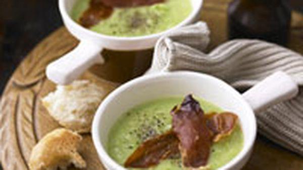 Pea soup with crisp prosciutto