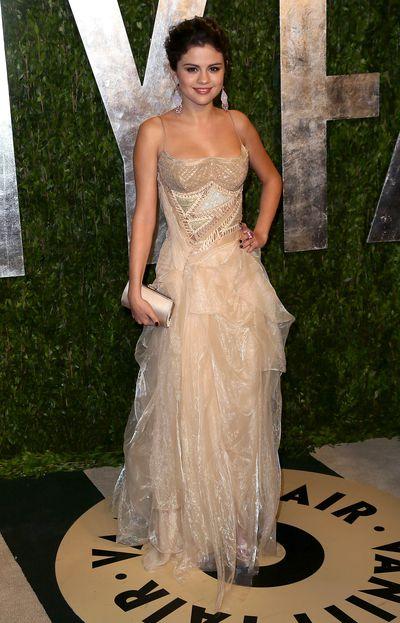 Selena Gomez in Atelier Versace at the2013 Vanity Fair Oscar Party