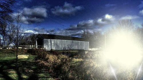 The covered bridge was about 10 kilometres from the Reed's diner.