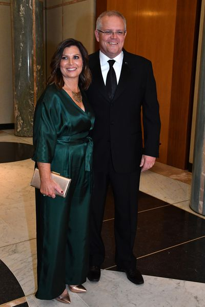 Prime Minister Scott Morrison and wife Jenny arrive for the annual Midwinter Ball at Parliament House in Canberra, Wednesday, September 18, 2019.