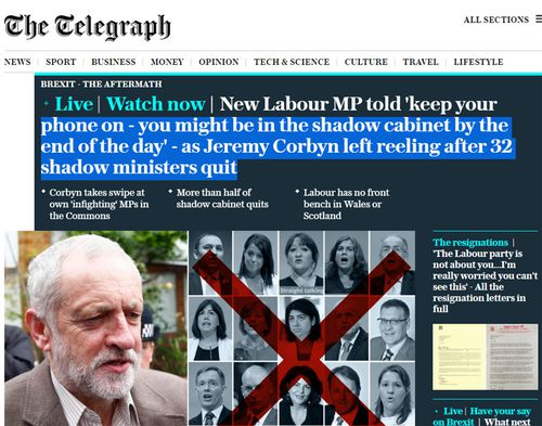 Mr Corbyn's leadership woes were splashed on the frontpage of The Telegraph.
