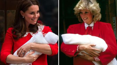 Kate Middleton outside St Mary's Hospital with baby Prince Louis, 2018; Princess Diana with baby Prince Harry, 1984