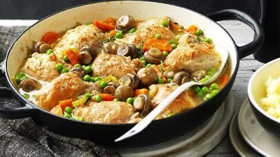 "Recipe:&nbsp;<a href=""http://kitchen.nine.com.au/2017/03/29/11/26/one-pot-chicken-and-mushroom-casserole"" target=""_top"">One-pot chicken and mushroom casserole</a>"