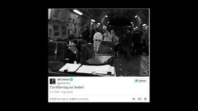 UNITED STATES: Former US president Bill Clinton jumped on the meme bandwagon mimicking a popular photo of his wife, Hillary Clinton, that went viral. (supplied)