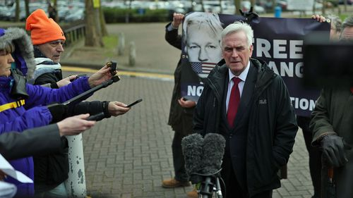 Shadow Chancellor John McDonnelll outside HMP Belmarsh in London, where he is visting Wikileaks founder Julian Assange ahead of his court battle against extradition to the US which is expected to open on Monday.. Picture date: Thursday February 20, 2020.