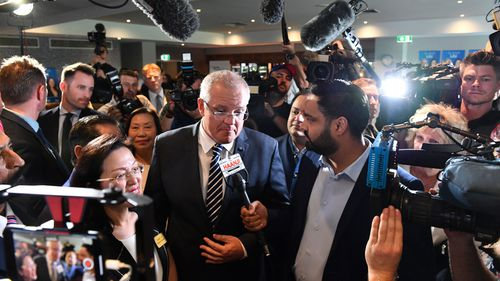 Scott Morrison at  Gladys Liu's campaign launch at the Box Hill Golf Club.