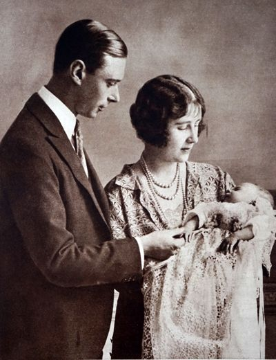 Princess Elizabeth with her parents the Duke and Duchess of York, May 1 1926