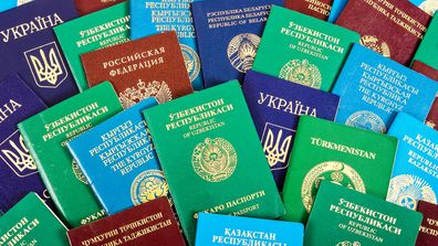 Pile of passports from around the world