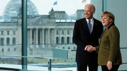 Joe Biden with German Chancellor Angela Merkel in 2013.