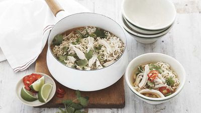 """<a href=""""http://kitchen.nine.com.au/2017/01/24/11/38/maggi-asian-chicken-and-corn-noodle-soup"""" target=""""_top"""">Asian chicken and corn noodle soup</a><br /> <br /> <a href=""""http://kitchen.nine.com.au/2016/11/29/11/52/15-minute-meals-for-speedy-weekday-dinners"""" target=""""_top"""">More 15 minute meals</a>"""