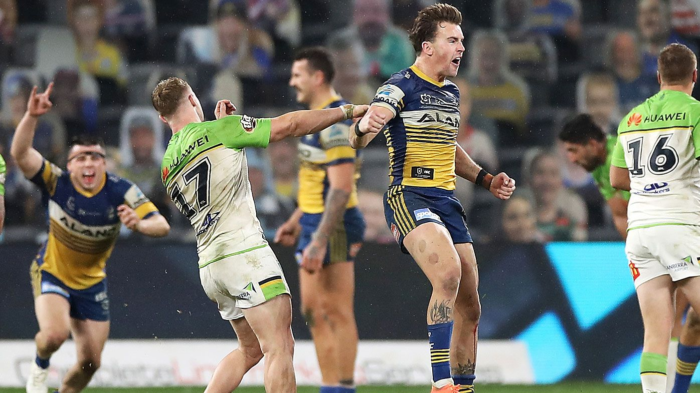 Clinton Gutherson of the Eels celebrates kicking the winning field goal