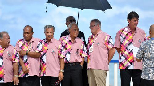 Kiribati's President Taneti Maamau, Cook Islands Prime Minister Henry Puna, Tonga's Prime Minister Akilisi Pohiva and Mr Morrison.